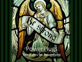 PowerPoint template displaying a depiction of an angel holding a sign of being strong