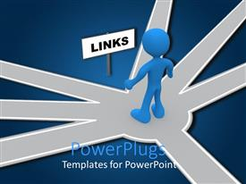 PowerPlugs: PowerPoint template with depiction of an animated human standing at he meeting point
