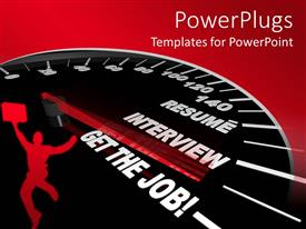 PowerPlugs: PowerPoint template with a depiction of applying for a job procedure with the help of a speedometer