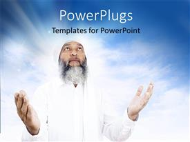 PowerPoint template displaying depiction of Arabic man praying over open sky