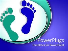 PowerPlugs: PowerPoint template with depiction art  green and blue foot print with isolated background