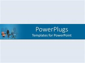 PowerPlugs: PowerPoint template with depiction of an ash colored plane with office chairs