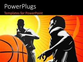 PowerPlugs: PowerPoint template with depiction of basketball game with two players and ball