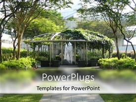 PowerPlugs: PowerPoint template with a depiction of a beautiful garden with a fountain in the middle