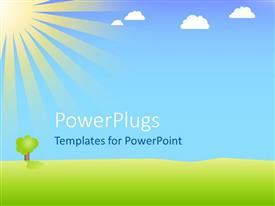 PowerPlugs: PowerPoint template with a depiction of a beautiful sunny day in a lush green field