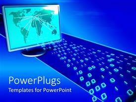 PowerPlugs: PowerPoint template with a depiction of binary numbers and a monitor along with place for text