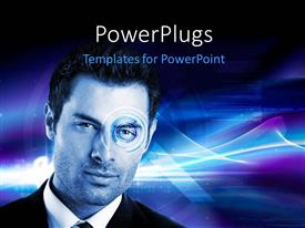 PowerPlugs: PowerPoint template with depiction of biometric security with retina scan on digital background