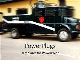 PowerPlugs: PowerPoint template with depiction of a black vehicle moving on a tarred road