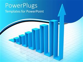 PowerPlugs: PowerPoint template with depiction of blue bars with a leading arrow bar