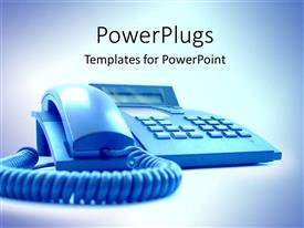 PowerPoint template displaying the depiction of a blue landline telephone with bluish background