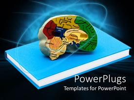 PowerPoint template displaying the depiction of a book and a brain with bluish background