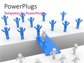 PowerPlugs: PowerPoint template with depiction of bridge between two groups of blue and white 3D people
