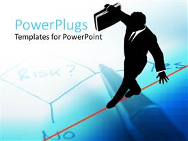 PowerPlugs: PowerPoint template with depiction of a business man with a brief case walking on a rope