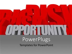 PowerPlugs: PowerPoint template with depiction of business with RISKS and OPPORTUNITY in 3D