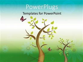 PowerPoint template displaying depiction of butterfly perching on green leaves of tree