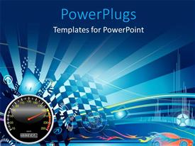 PowerPlugs: PowerPoint template with depiction of car racing with speedometer and racing flags