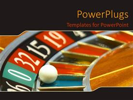 PowerPoint template displaying a depiction of a casino roulette with the ball in 0th value