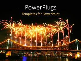 PowerPoint template displaying depiction of celebration with fireworks in night sky over urban city