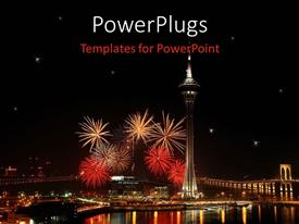 PowerPoint template displaying a depiction of celebrations with fireworks and lighting on the buildings
