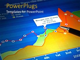 PowerPlugs: PowerPoint template with depiction of a chart with connected dots and a pen