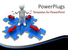 PowerPlugs: PowerPoint template with depiction of choice with 3D man standing on blue puzzle