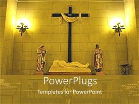 PowerPlugs: PowerPoint template with depiction of Christian cathedral with statues, cross and lamps