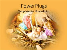 PowerPoint template displaying depiction of Christmas with baby Jesus in manger