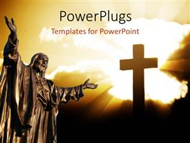 PowerPlugs: PowerPoint template with depiction of Christ's resurrection with statue of Jesus and cross