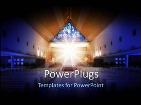 PowerPlugs: PowerPoint template with a depiction of a church with holy light in the middle of it