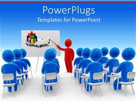 PowerPlugs: PowerPoint template with a depiction of a classroom with a teacher teaching economics