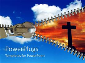 PowerPoint template displaying a depiction of clouds and the holy cross along with a zip