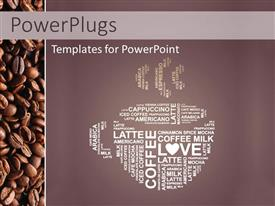 PowerPlugs: PowerPoint template with depiction of coffee cup with coffee in different languages