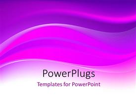 PowerPoint template displaying depiction of colorful purple and pink waves over white surface