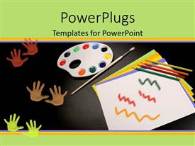 PowerPlugs: PowerPoint template with depiction of common art supplies like pencils, paint pad