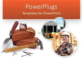 PowerPlugs: PowerPoint template with a depiction of construction material with an engineer in the picture