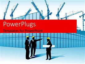 PowerPlugs: PowerPoint template with depiction of construction site with architects holding plan discussing