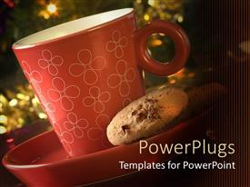 PowerPlugs: PowerPoint template with a depiction of a cookie along  with a cup of coffee