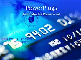 PowerPoint template displaying depiction of credit card security with security sensors on card
