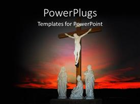 PowerPlugs: PowerPoint template with depiction of crucifixion with Christ on cross and three statues