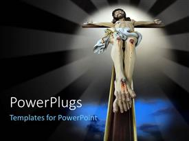 PowerPlugs: PowerPoint template with depiction of crucifixion of Christ on wooden cross with light glow