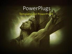 PowerPlugs: PowerPoint template with depiction of crucifixion with Jesus Christ nailed to cross