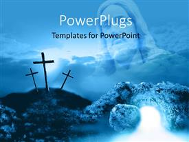 PowerPlugs: PowerPoint template with depiction of crucifixion and resurrection with three crosses on mountain