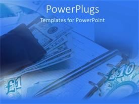 PowerPlugs: PowerPoint template with a depiction of currency notes and a register with blue background
