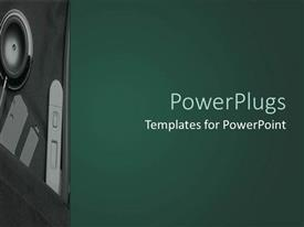 PowerPlugs: PowerPoint template with depiction of a deep green background board with speaker