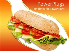 PowerPlugs: PowerPoint template with the depiction of a delicious sandwich with a lot of vegetables