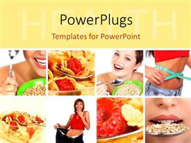 PowerPoint template displaying depiction of diet with collage of lady eating cereals and with measuring tape