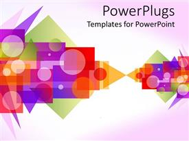 PowerPlugs: PowerPoint template with a depiction of different shapes of various colors with light purple background