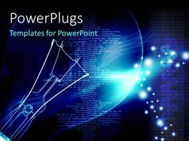 PowerPlugs: PowerPoint template with depiction of digital background with transparent light bulb glowing