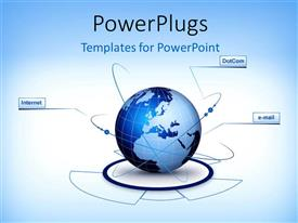 PowerPlugs: PowerPoint template with depiction of digital communication with locations on earth globe linked by internet