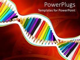 PowerPlugs: PowerPoint template with a depiction of a DNa with color pencils in it